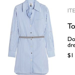 Topshop Unique Dorney Striped Cotton Shirt Dreas